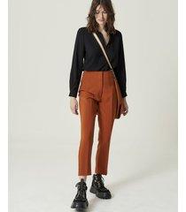 pantalón marrón portsaid high waist alexia