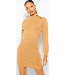 button shoulder knit dress, camel