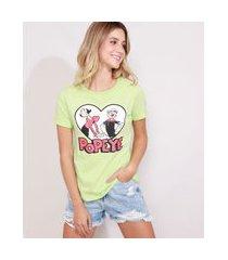 camiseta feminina popeye manga curta decote redondo verde claro