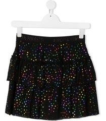 alberta ferretti kids teen tiered star-print tulle skirt - black