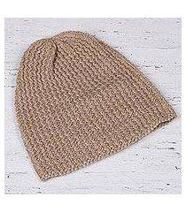 wool blend hat, 'himalayan waves ecru' (india)