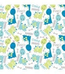 papel de parede quartinhos adesivo dinossauros 2,70x0,57m - azul - dafiti