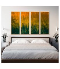 kit 4 quadro oppen house s 75x120cm pinheiro ao entardecer floresta coníferas  decoração luxo para quartos salas      quadro oppen house s decorativos