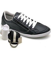 kit sapatênis dexshoes com cinto e meia casual - masculino