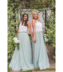 sage green long maxi tulle skirt full length green wedding bridesmaid skirts nwt