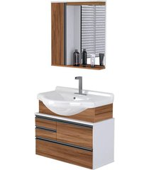 conjunto de banheiro rorato firenze, nogal, 83,5 cm