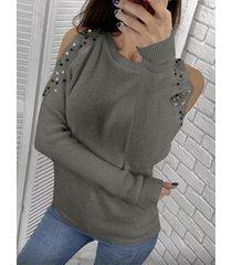 detalles de cuentas hechos a mano suéter de manga larga con hombros descubiertos