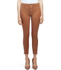 women's l'agence sabine coated high waist ankle zip crop skinny jeans, size 32 - brown