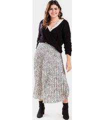 brandie animal print pleated midi skirt - white