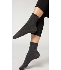 calzedonia wool and cotton short socks woman grey size tu