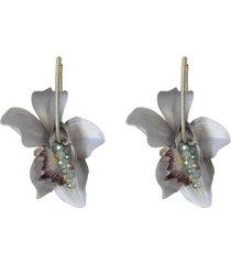 aretes flores lirios grises- atalí
