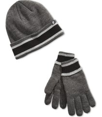 block hats men's stripe lined beanie & gloves set