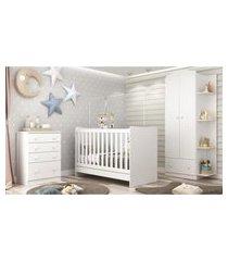 quarto infantil completo joáo e maria com berço 4 em 1 + roupeiro e cômoda branco