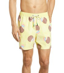 men's party pants coconut drink swim trunks, size large - yellow