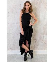 maxi ribstof jurk zwart