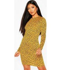 dalmatian print long sleeve mini dress, mustard