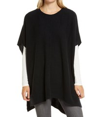 women's nordstrom high/low wool & cashmere poncho, size one size - black