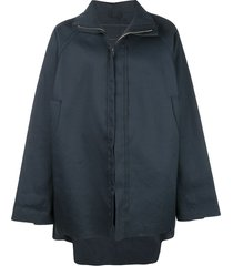 camiel fortgens zipped flared coat - blue