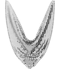 girocollo foulard con strass in metallo rodiato color argento per donna