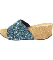sandalia faja glitter azul mailea