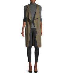 bcbgmaxazria women's cotton-blend long vest - dark olive - size xxs