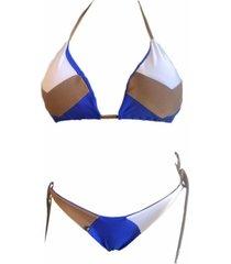 biquíni garota de luxo beachwear cortininha tri collor azul/marrom/branco