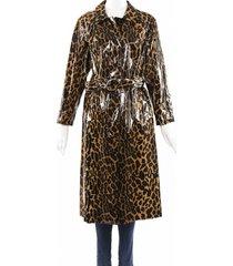 miu miu cire animalier brown coated cotton trench coat black/brown/animal print sz: xs