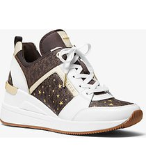 mk sneaker georgie in pelle con logo e stelle - brown multi - michael kors