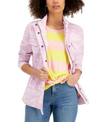 style & co camouflage utility jacket, created for macy's