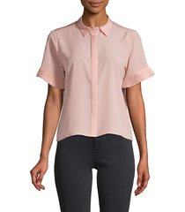 french connection women's pleated short-sleeve shirt - teagown - size s