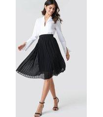 na-kd midi pleated skirt - black