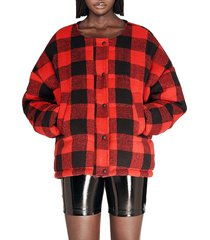 apparis women's alana plaid quilted jacket - red plaid - size m