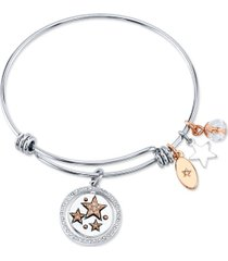 "unwritten ""live your dream"" stars bangle bracelet in stainless steel & rose gold-tone with silver plated charms"