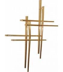 brinco crucifixo duplo 3rs semijoias dourado - kanui