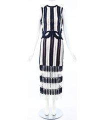 self portrait blue white striped crochet cut out midi dress blue/white sz: l