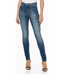 calça jeans feminina five pockets jegging cintura alta azul médio calvin klein - 36