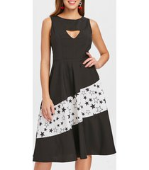 triangle cut stars printed retro dress