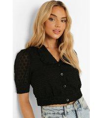 korte blouse met geplooide kraag, black