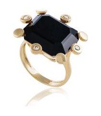 anel pic color oa com diamante branco e turmalina