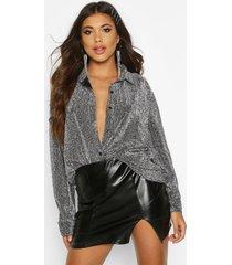 metallic oversized shirt, zilver