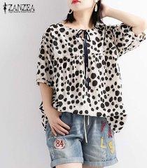 zanzea mujeres lunares largo ocasional tapas de la camisa de las señoras flojas remata la blusa del tamaño extra grande -negro