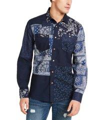 sun + stone men's indigo patchwork shirt, created for macy's