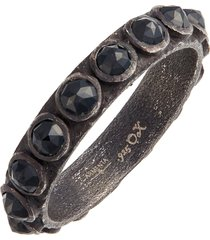 women's armenta new world black spinel sterling silver stackable ring