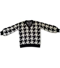 bar iii oversized houndstooth v-neck sweater, created for macy's