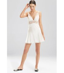sleek lace chemise pajamas / sleepwear / loungewear, women's, white, silk, size m, josie natori