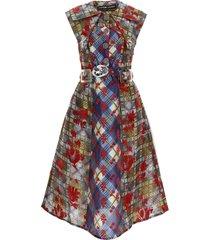 chopova lowena flocked midi dress