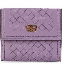 bottega veneta women's intrecciato leather bi-fold wallet - purple