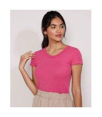 blusa feminina básica canelada manga curta decote redondo pink