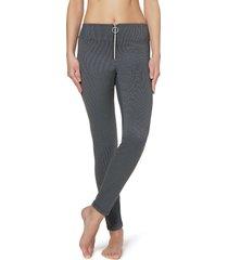 leggings stretch con zip centrale