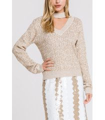 endless rose sweater top with chocker neck detail